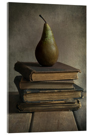 Acrylic glass  Still life with books and pear - Jaroslaw Blaminsky