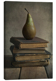 Canvas  Still life with books and pear - Jaroslaw Blaminsky