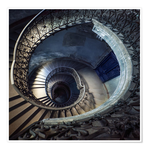 Premium poster Old beautiful spiral staircase