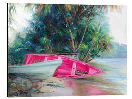 Aluminium print  pink boat on side - Jonathan Guy-Gladding