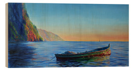 Wood print  base of petit piton with gommier boat - Jonathan Guy-Gladding