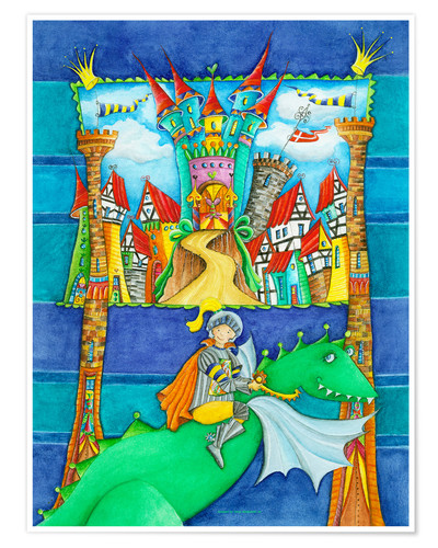 Premium poster Knights Dragon and the Knight's Castle