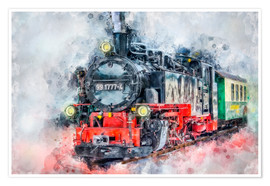 Premium poster Steam locomotive Lößnitzgrundbahn 991 777 4