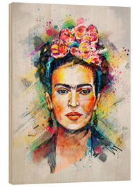 Wood print  Frida Flower Pop - Tracie Andrews