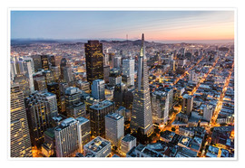 Premium poster Aerial of San Francisco downtown at dusk, USA