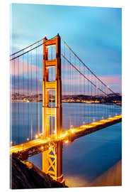 Acrylic print  Dawn on the Golden gate bridge, San Francisco, USA - Matteo Colombo