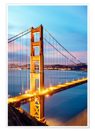 Poster  Dawn on the Golden gate bridge, San Francisco, USA - Matteo Colombo