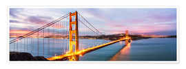 Poster  Panoramic of Golden gate bridge, San Francisco, USA - Matteo Colombo