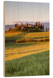 Wood print  Podere Belvedere at sunrise, Tuscany, Italy - Matteo Colombo