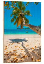 Wood print  Sea view with palm tree - Jürgen Feuerer