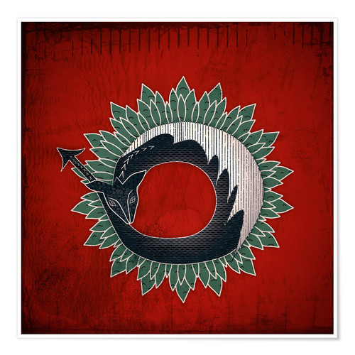 Poster Black dragon, green flame