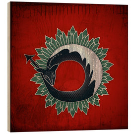 Wood print  Black dragon, green flame - Sybille Sterk