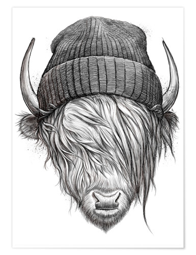 Poster bull in a hat