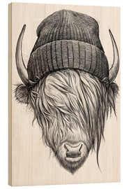 Wood print  Bull in a hat - Nikita Korenkov