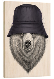 Wood print  Bear in hat - Nikita Korenkov