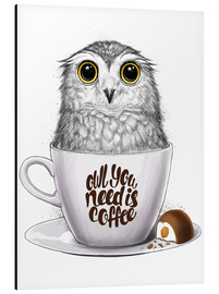 Aluminium print  Owl you need is coffee - Nikita Korenkov