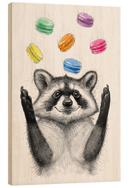 Wood print  Raccoon and cookies - Nikita Korenkov