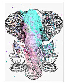 Poster  Elephant in the lotus - Nikita Korenkov