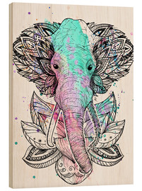 Wood print  Elephant in the lotus - Nikita Korenkov