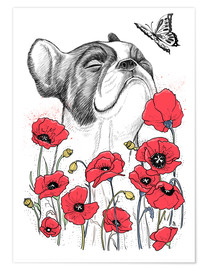 Poster Pug in flowers