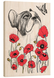 Wood print  Pug in flowers - Nikita Korenkov