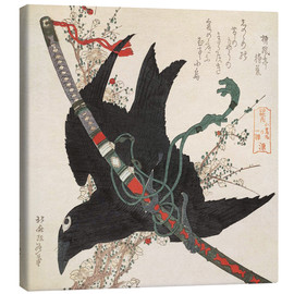 Canvas  The Little Raven with the Minamoto clan sword - Katsushika Hokusai