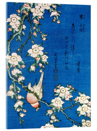 Acrylic glass  Bullfinch and weeping cherry - Katsushika Hokusai