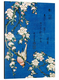 Aluminium print  Bullfinch and weeping cherry - Katsushika Hokusai