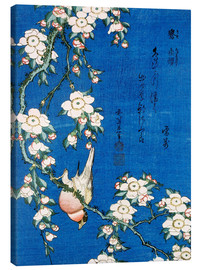 Canvas print  Bullfinch and weeping cherry - Katsushika Hokusai