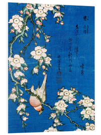 Foam board print  Bullfinch and weeping cherry - Katsushika Hokusai