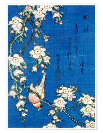 Premium poster  Bullfinch and weeping cherry - Katsushika Hokusai