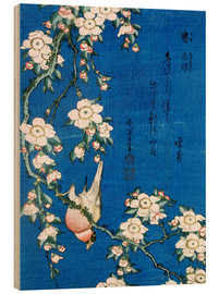 Wood print  Bullfinch and weeping cherry - Katsushika Hokusai