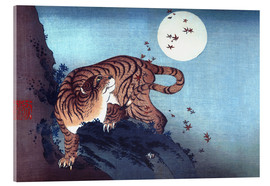 Acrylic glass  The Tiger and the moon - Katsushika Hokusai