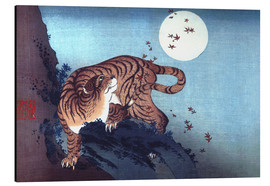 Aluminium print  The Tiger and the moon - Katsushika Hokusai