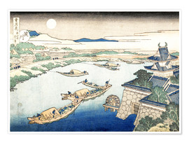 Premium poster Moonlight on the Yodo River