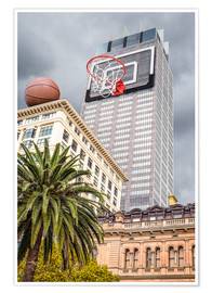 Premium poster  Basketball hoop on skyscraper - James Popsys