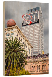 Wood print  Basketball hoop on skyscraper - James Popsys