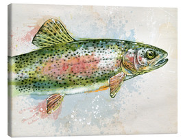 Canvas  Splashing Rainbow Trout - Ashley Verkamp
