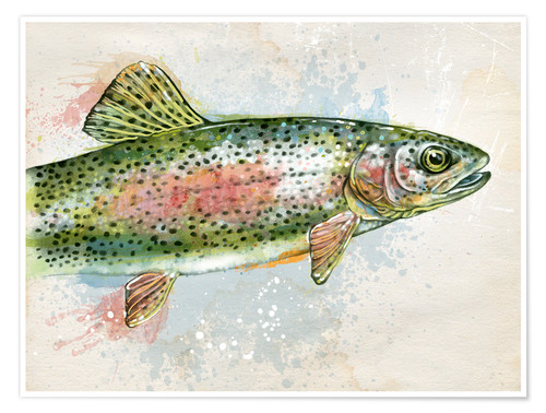 Premium poster Splashing Rainbow Trout