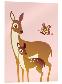 Acrylic print  Mom And Baby Deer With Butterfly - Ashley Verkamp