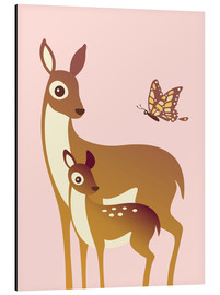 Alu-Dibond  Mom And Baby Deer With Butterfly - Ashley Verkamp