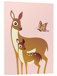 Forex  Mom And Baby Deer With Butterfly - Ashley Verkamp