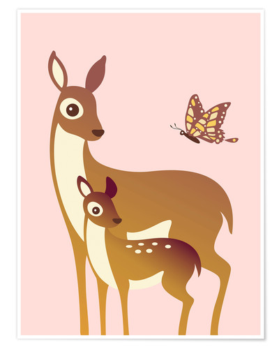 Premium poster Mom And Baby Deer With Butterfly