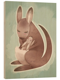 Wood  Mamma and baby kangaroo - Ashley Verkamp