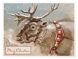 Premium poster Air Mail Christmas Reindeer