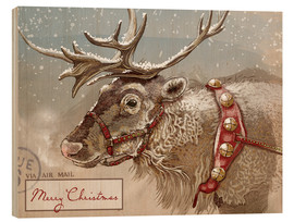 Wood print  Air Mail Christmas Reindeer - Ashley Verkamp