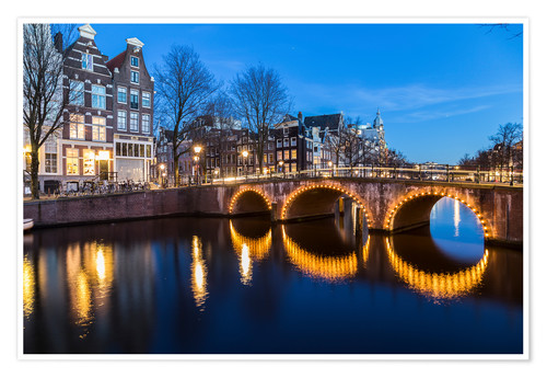Premium poster Amsterdam Bridges at night