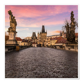 Premium poster Charles Bridge, Prague at sunrise