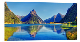 Acrylic print  Milford Sound Mitre Peak Reflection New Zealand - Michael Rucker