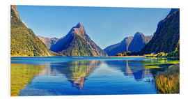 Foam board print  Milford Sound Mitre Peak Reflection New Zealand - Michael Rucker